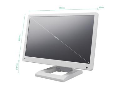 13 Zoll Monitor (Weiß) mit Standfuß